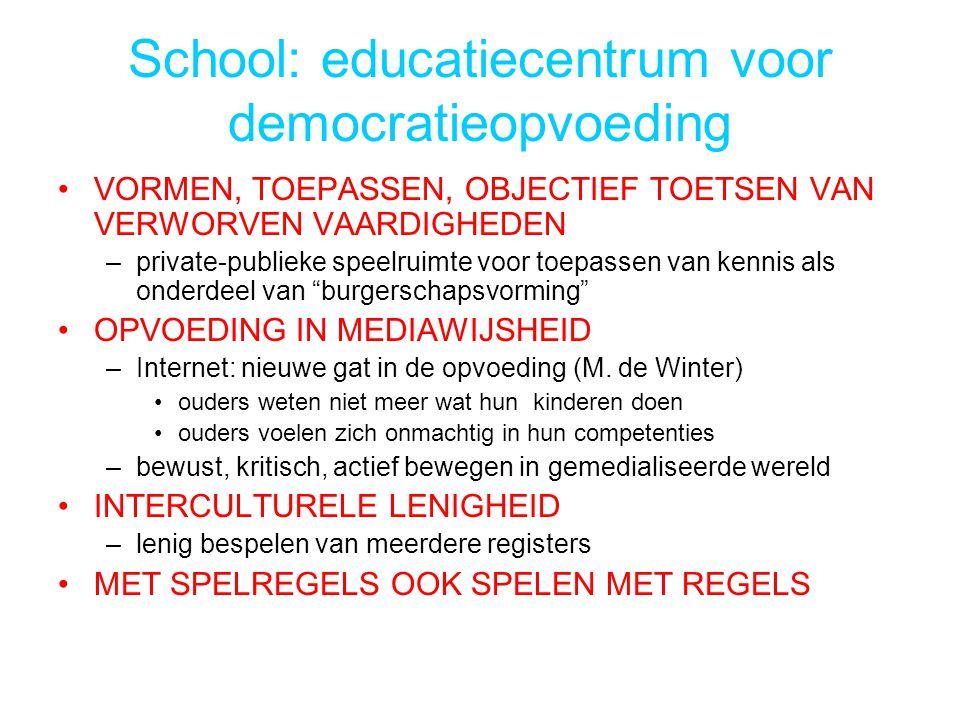 School: educatiecentrum voor democratieopvoeding VORMEN, TOEPASSEN, OBJECTIEF TOETSEN VAN VERWORVEN VAARDIGHEDEN –private-publieke speelruimte voor toepassen van kennis als onderdeel van burgerschapsvorming OPVOEDING IN MEDIAWIJSHEID –Internet: nieuwe gat in de opvoeding (M.