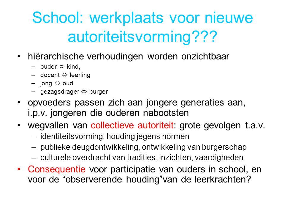 School: werkplaats voor nieuwe autoriteitsvorming??.