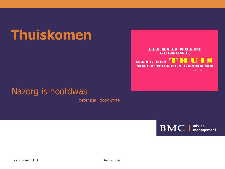 7 oktober 2010 Thuiskomen 12 Meelopen op eigen kracht Nabij zijn en aansluiten