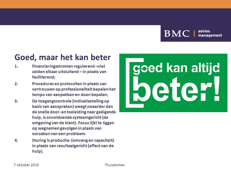 7 oktober 2010Thuiskomen Goed, maar het kan beter 1.Financieringsstromen regulerend –niet zelden elkaar uitsluitend – in plaats van faciliterend; 2.Pr