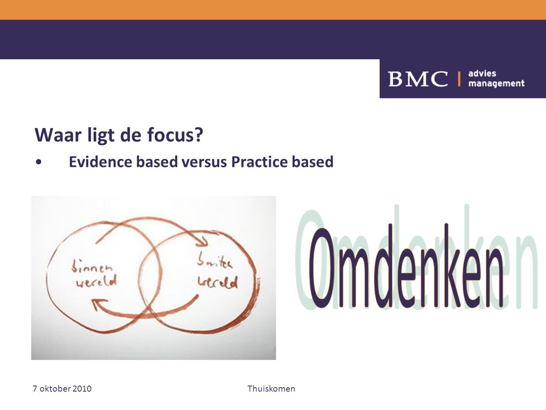 7 oktober 2010Thuiskomen Waar ligt de focus Evidence based versus Practice based