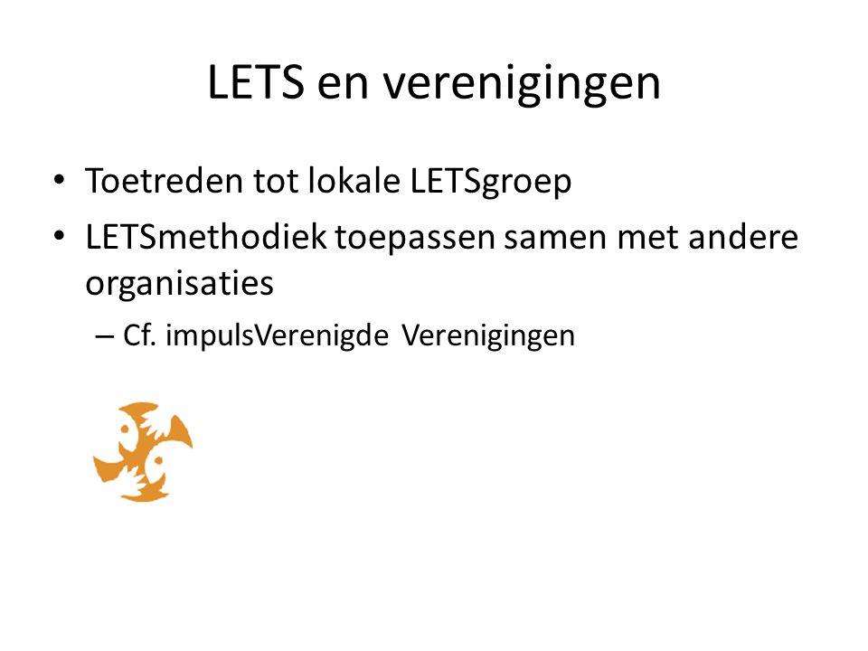 LETS en verenigingen Toetreden tot lokale LETSgroep LETSmethodiek toepassen samen met andere organisaties – Cf.