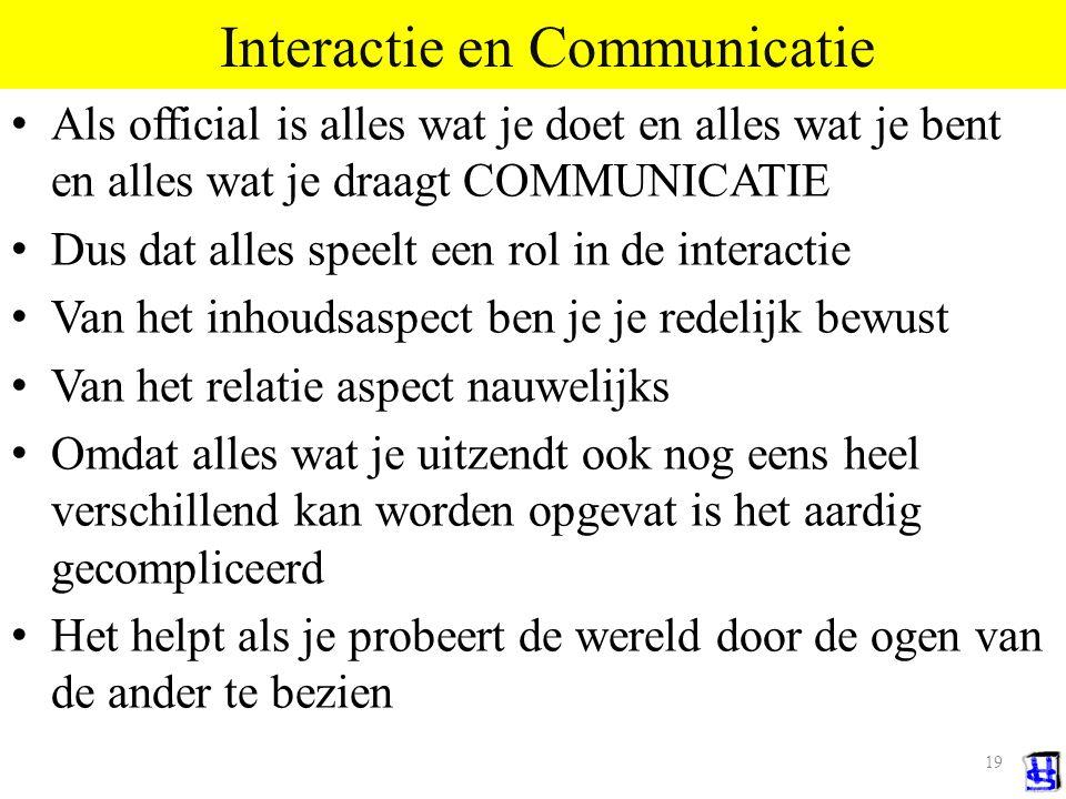 18 Processen tussen individuen We noemen dat interactie en het middel is communicatie Communicatie kent vele kanalen, elk met eigen kenmerken Denk aan Verbaal vs.