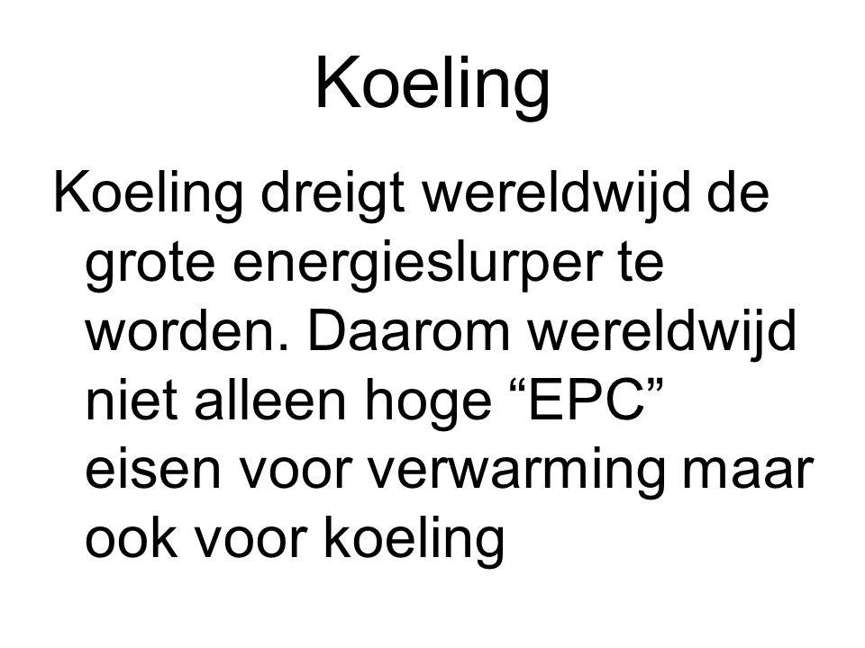 """Koeling Koeling dreigt wereldwijd de grote energieslurper te worden. Daarom wereldwijd niet alleen hoge """"EPC"""" eisen voor verwarming maar ook voor koel"""