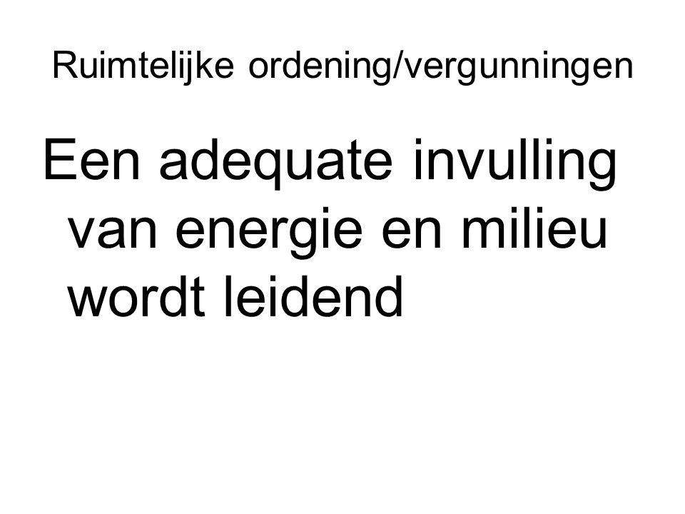 Ruimtelijke ordening/vergunningen Een adequate invulling van energie en milieu wordt leidend