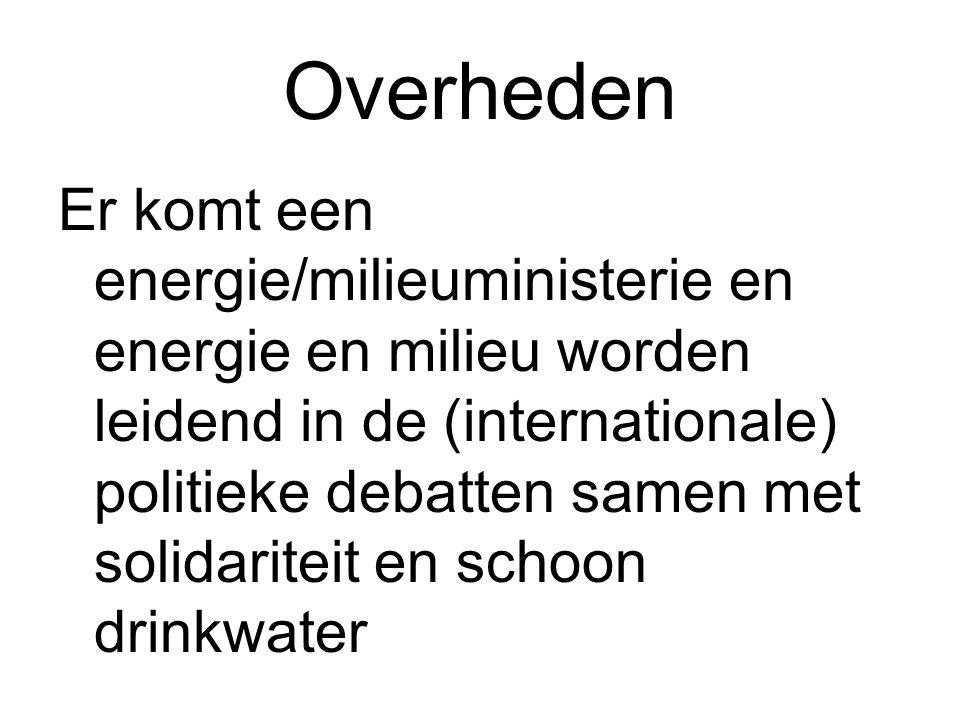 Overheden Er komt een energie/milieuministerie en energie en milieu worden leidend in de (internationale) politieke debatten samen met solidariteit en