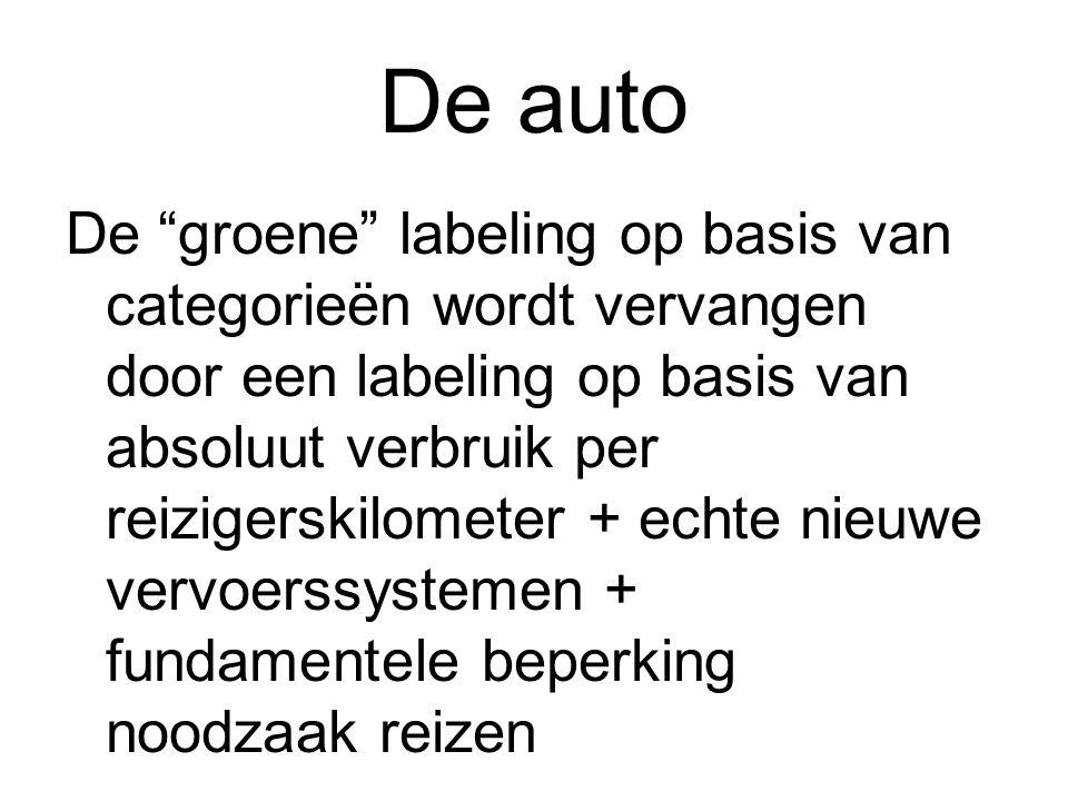 """De auto De """"groene"""" labeling op basis van categorieën wordt vervangen door een labeling op basis van absoluut verbruik per reizigerskilometer + echte"""
