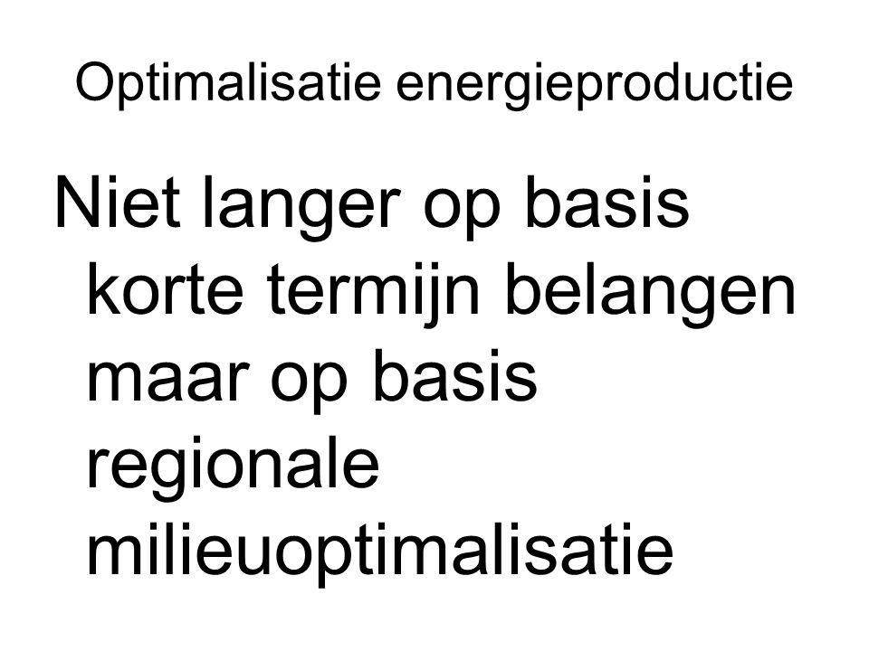 Optimalisatie energieproductie Niet langer op basis korte termijn belangen maar op basis regionale milieuoptimalisatie