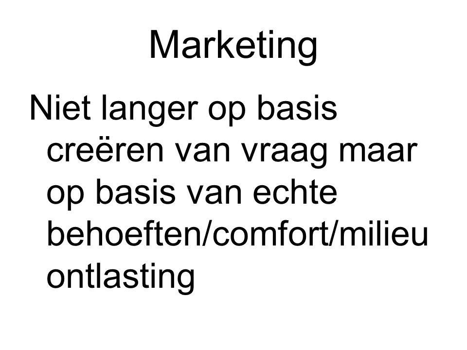 Marketing Niet langer op basis creëren van vraag maar op basis van echte behoeften/comfort/milieu ontlasting