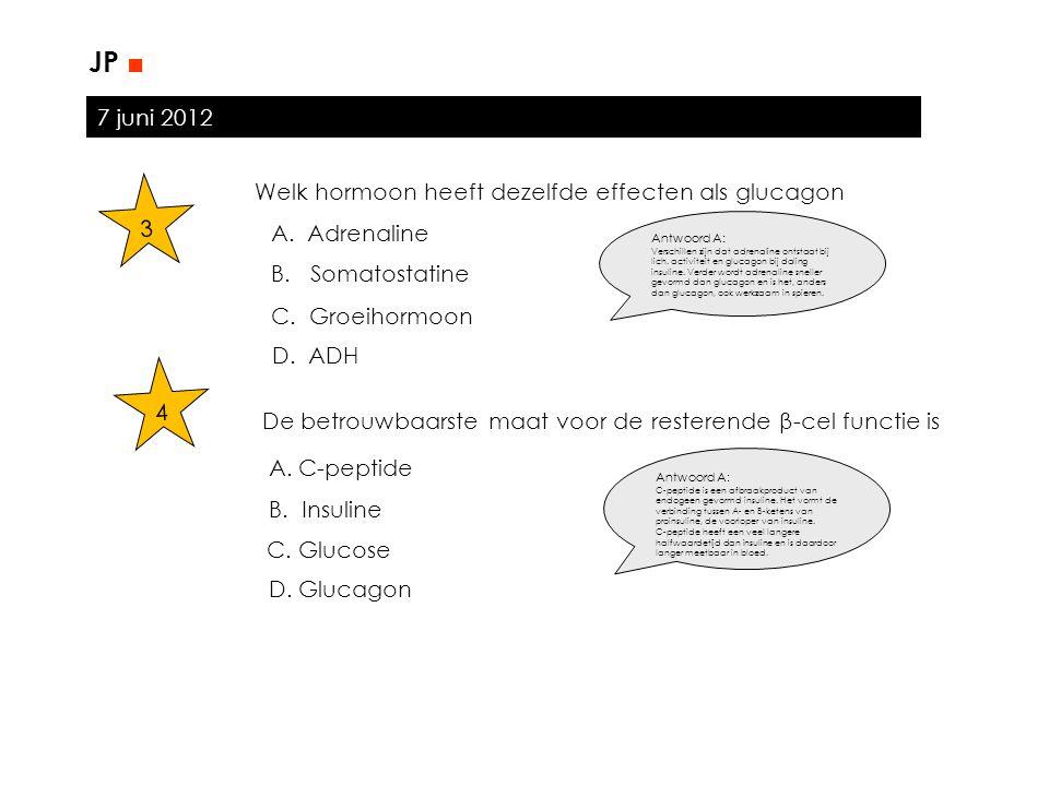 7 juni 2012 JP ■ 3 Welk hormoon heeft dezelfde effecten als glucagon A. Adrenaline B. Somatostatine C. Groeihormoon D. ADH A. C-peptide B. Insuline C.