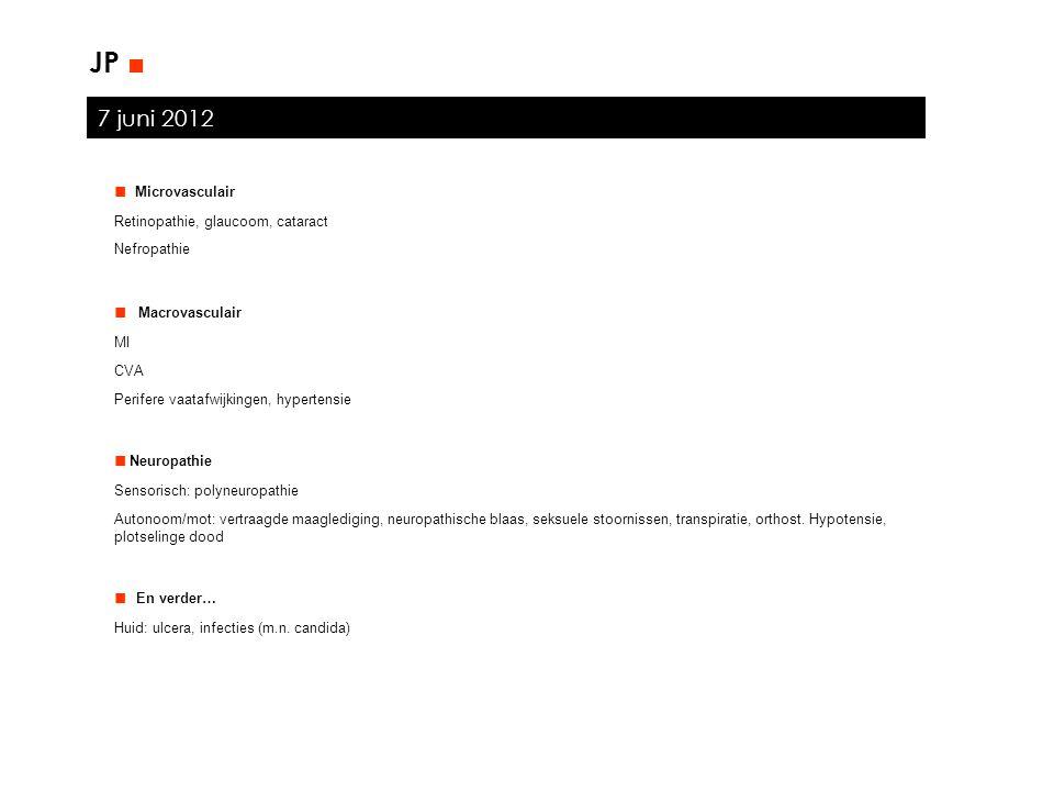 7 juni 2012 JP ■ ■ Microvasculair Retinopathie, glaucoom, cataract Nefropathie ■ Macrovasculair MI CVA Perifere vaatafwijkingen, hypertensie ■ Neuropa