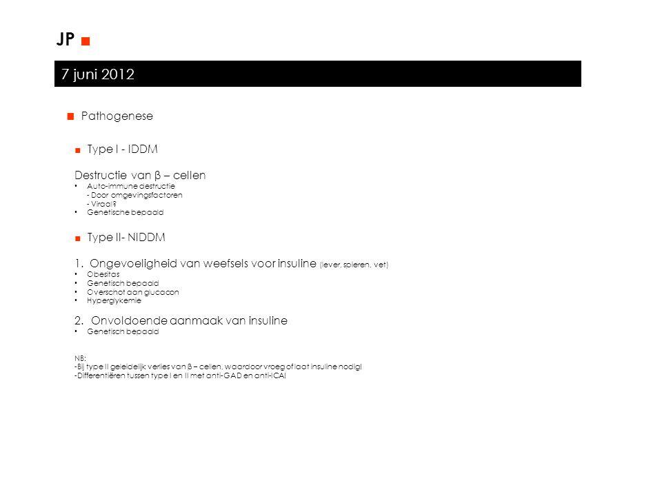 7 juni 2012 JP ■ ■ Pathogenese ■ Type I - IDDM Destructie van β – cellen Auto-immune destructie - Door omgevingsfactoren - Viraal? Genetische bepaald