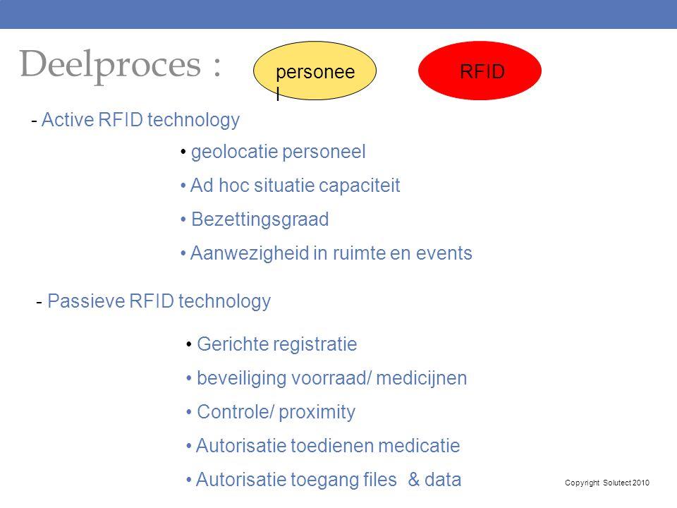 Deelproces : - Active RFID technology geolocatie personeel Ad hoc situatie capaciteit Bezettingsgraad Aanwezigheid in ruimte en events - Passieve RFID