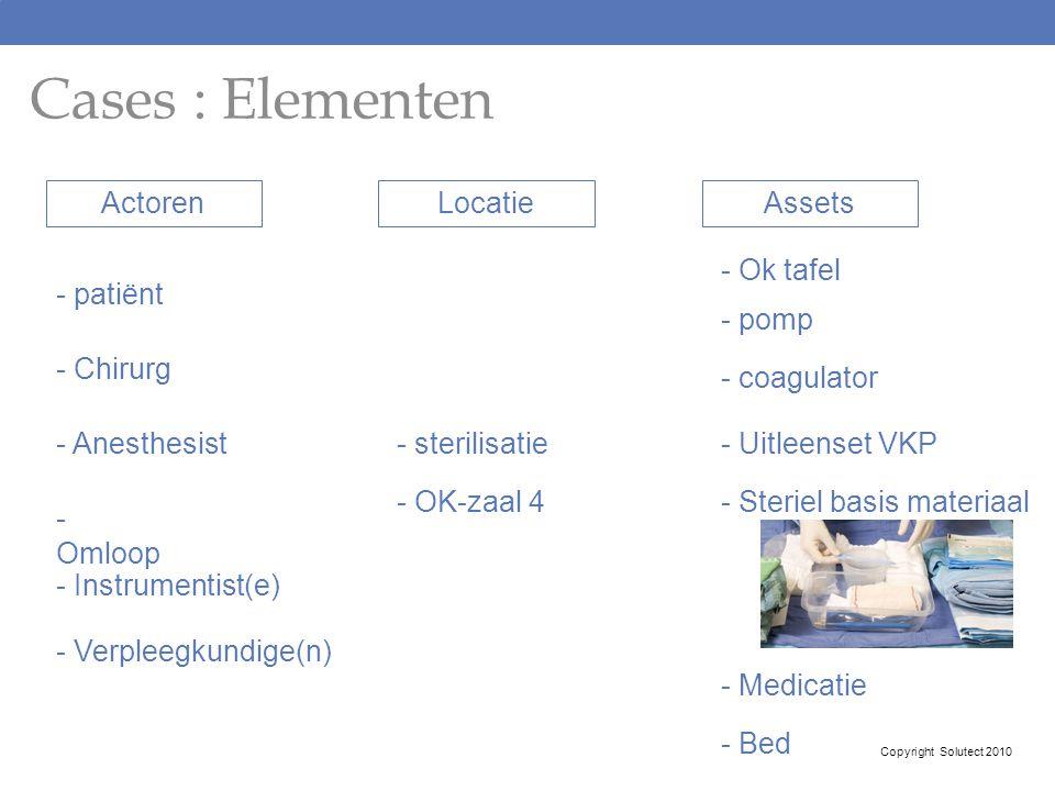 Cases : Elementen Actoren - patiënt - Chirurg - Instrumentist(e) - Anesthesist - Omloop - Verpleegkundige(n) Locatie - sterilisatie - OK-zaal 4 Assets