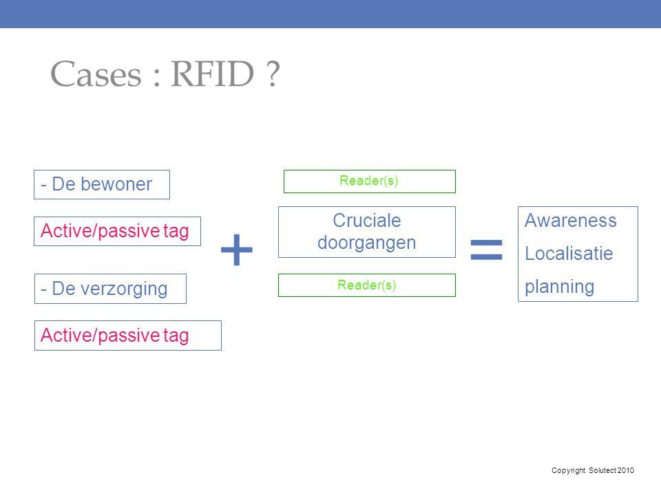 Cases : RFID ? - De bewoner Active/passive tag Cruciale doorgangen Reader(s) Awareness Localisatie planning - De verzorging Active/passive tag Copyrig