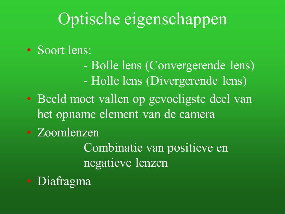 Optische eigenschappen Soort lens: - Bolle lens (Convergerende lens) - Holle lens (Divergerende lens) Beeld moet vallen op gevoeligste deel van het op