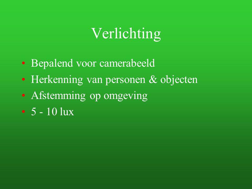 Verlichting Bepalend voor camerabeeld Herkenning van personen & objecten Afstemming op omgeving 5 - 10 lux
