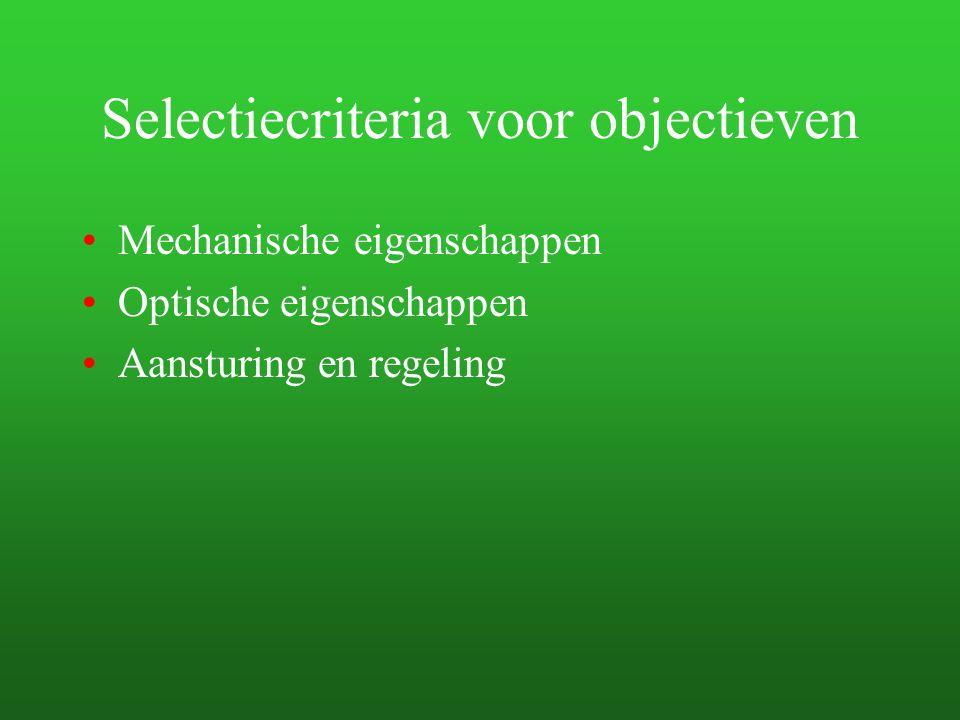 Selectiecriteria voor objectieven Mechanische eigenschappen Optische eigenschappen Aansturing en regeling