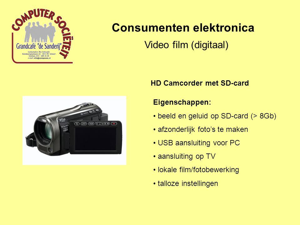 Consumenten elektronica Video film (digitaal) Eigenschappen: beeld en geluid op SD-card (> 8Gb) afzonderlijk foto's te maken USB aansluiting voor PC aansluiting op TV lokale film/fotobewerking talloze instellingen HD Camcorder met SD-card