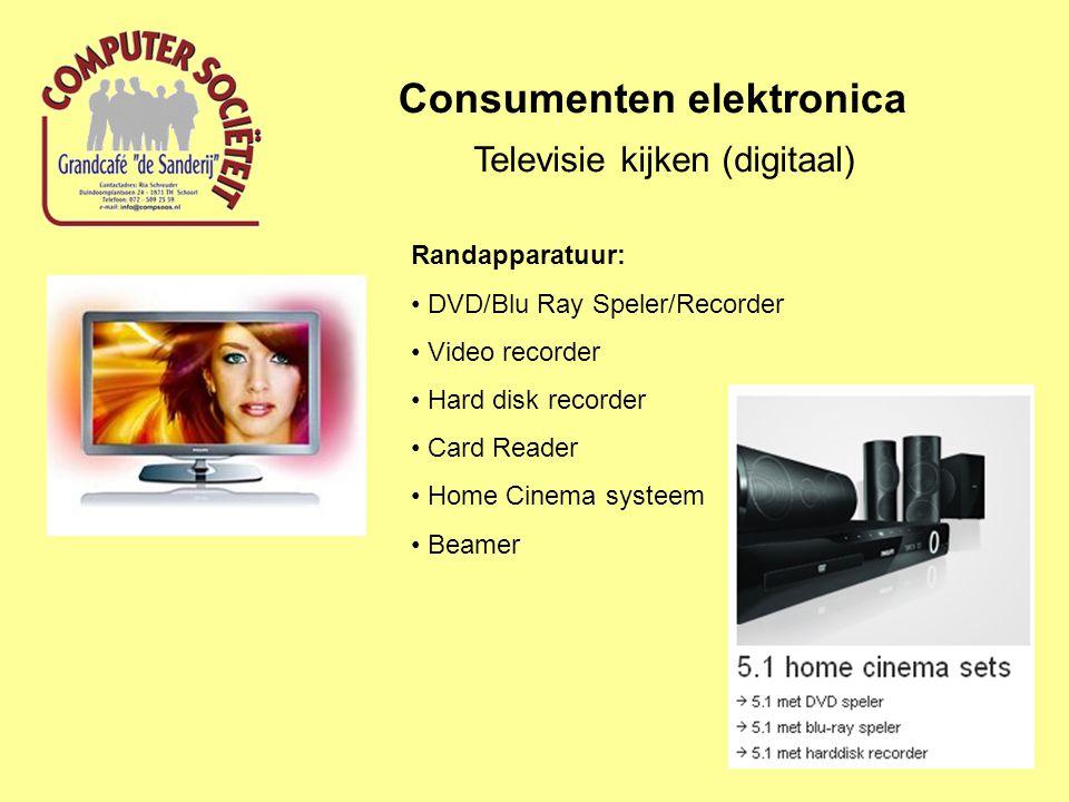 Consumenten elektronica Televisie kijken (digitaal) Randapparatuur: DVD/Blu Ray Speler/Recorder Video recorder Hard disk recorder Card Reader Home Cinema systeem Beamer