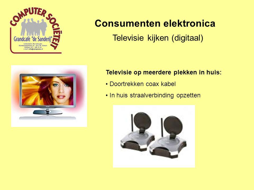 Consumenten elektronica Televisie kijken (digitaal) Televisie op meerdere plekken in huis: Doortrekken coax kabel In huis straalverbinding opzetten