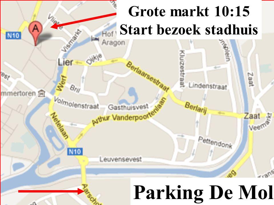 Programma Samenkomst grote markt te Lier, indien tijdig, koffie op terras 't Belfort.