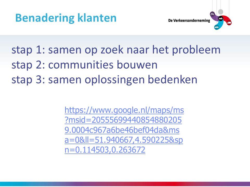 Benadering klanten stap 1: samen op zoek naar het probleem stap 2: communities bouwen stap 3: samen oplossingen bedenken https://www.google.nl/maps/ms