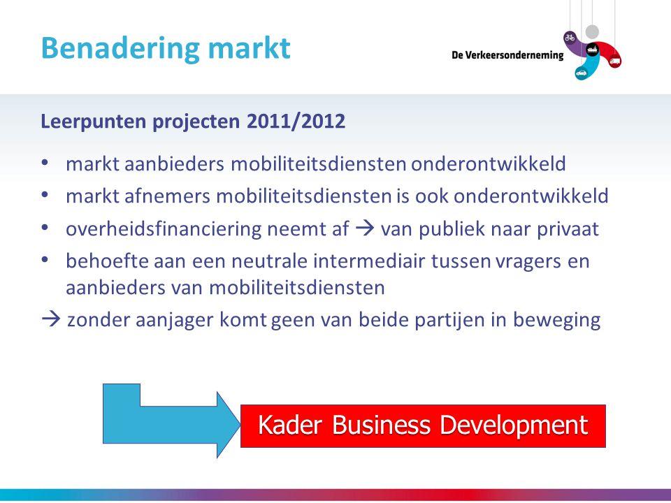 Leerpunten projecten 2011/2012 markt aanbieders mobiliteitsdiensten onderontwikkeld markt afnemers mobiliteitsdiensten is ook onderontwikkeld overheid