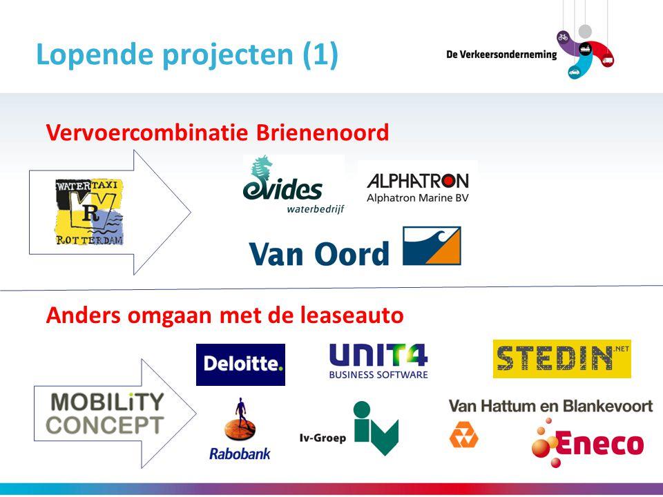 Lopende projecten (1) Anders omgaan met de leaseauto Vervoercombinatie Brienenoord