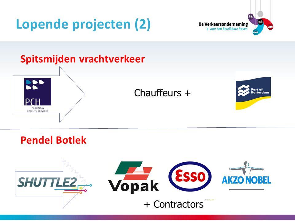 Lopende projecten (2) Pendel Botlek Spitsmijden vrachtverkeer + Contractors Chauffeurs +