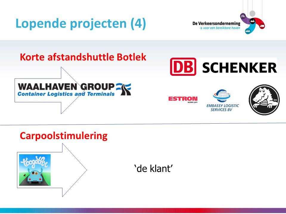 Lopende projecten (4) Carpoolstimulering Korte afstandshuttle Botlek 'de klant'