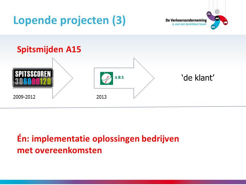 Lopende projecten (3) Spitsmijden A15 'de klant' 2009-20122013 Én: implementatie oplossingen bedrijven met overeenkomsten