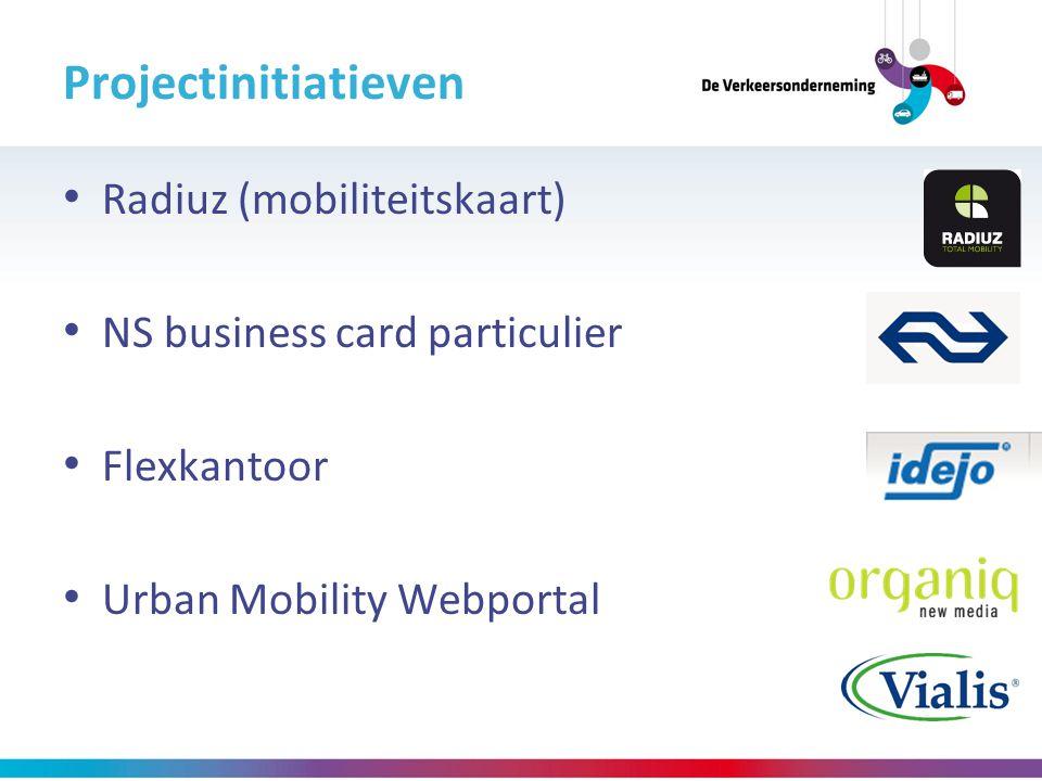 Projectinitiatieven Radiuz (mobiliteitskaart) NS business card particulier Flexkantoor Urban Mobility Webportal