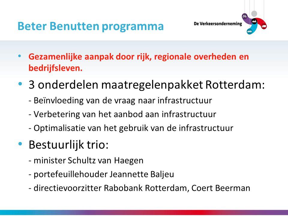 Beter Benutten programma Gezamenlijke aanpak door rijk, regionale overheden en bedrijfsleven. 3 onderdelen maatregelenpakket Rotterdam: - Beïnvloeding