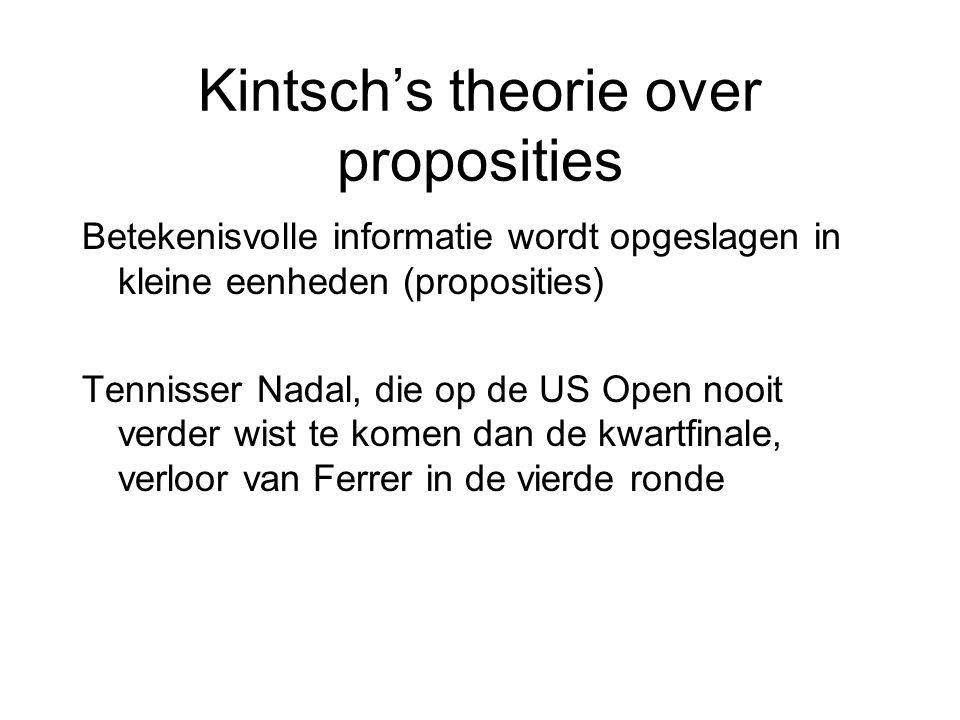 Kintsch's theorie over proposities Betekenisvolle informatie wordt opgeslagen in kleine eenheden (proposities) Tennisser Nadal, die op de US Open nooi