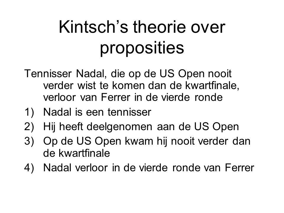 Kintsch's theorie over proposities Tennisser Nadal, die op de US Open nooit verder wist te komen dan de kwartfinale, verloor van Ferrer in de vierde r