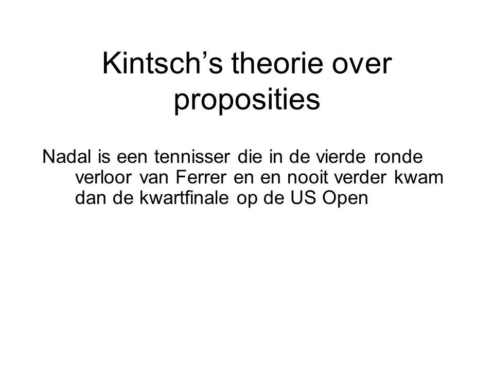 Kintsch's theorie over proposities Nadal is een tennisser die in de vierde ronde verloor van Ferrer en en nooit verder kwam dan de kwartfinale op de U