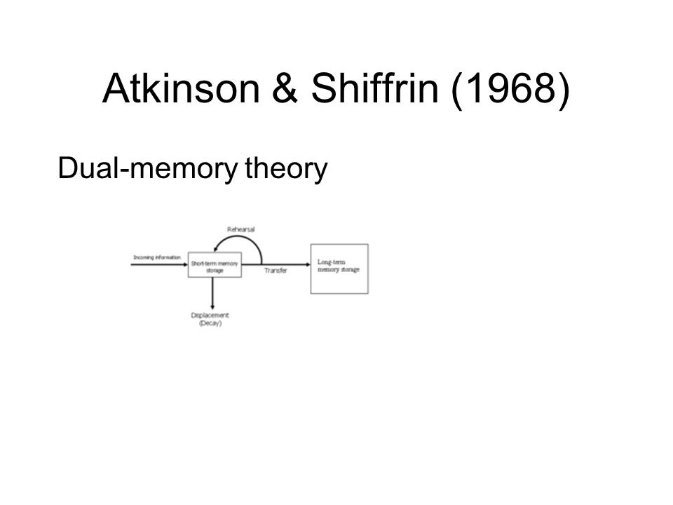 Atkinson & Shiffrin (1968) Dual-memory theory