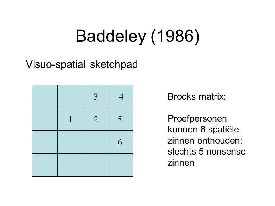Baddeley (1986) Visuo-spatial sketchpad Brooks matrix: Proefpersonen kunnen 8 spatiële zinnen onthouden; slechts 5 nonsense zinnen 12 34 5 6