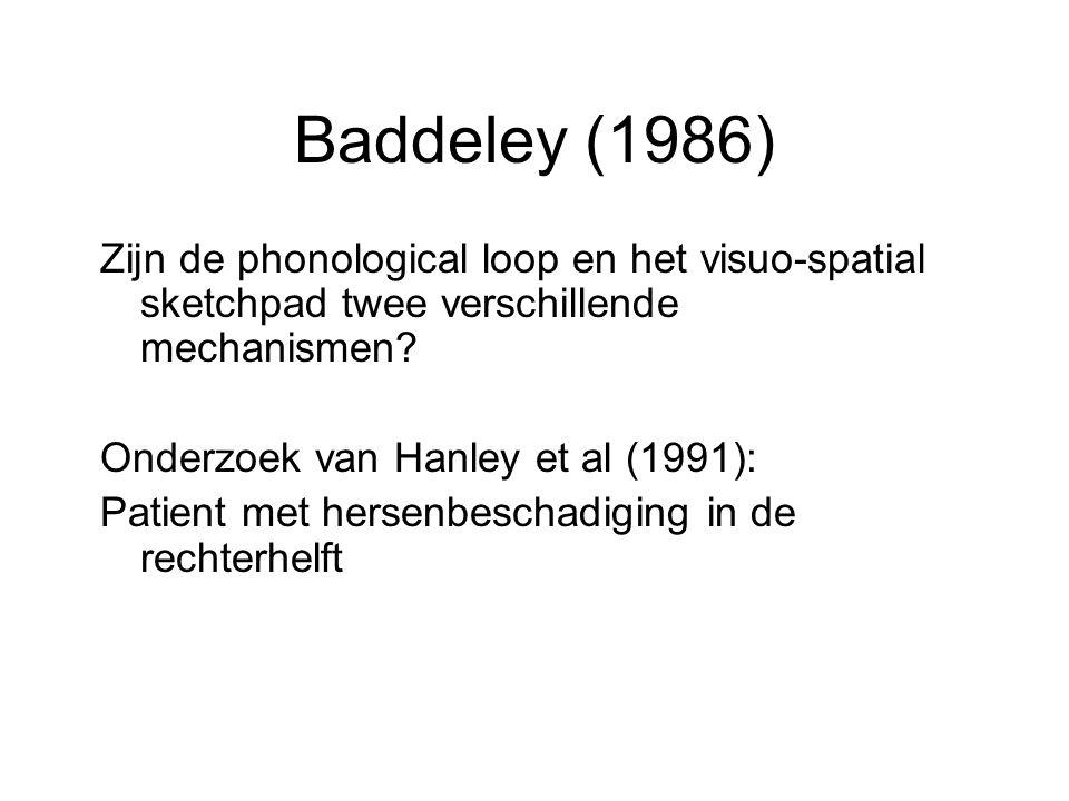 Baddeley (1986) Zijn de phonological loop en het visuo-spatial sketchpad twee verschillende mechanismen? Onderzoek van Hanley et al (1991): Patient me