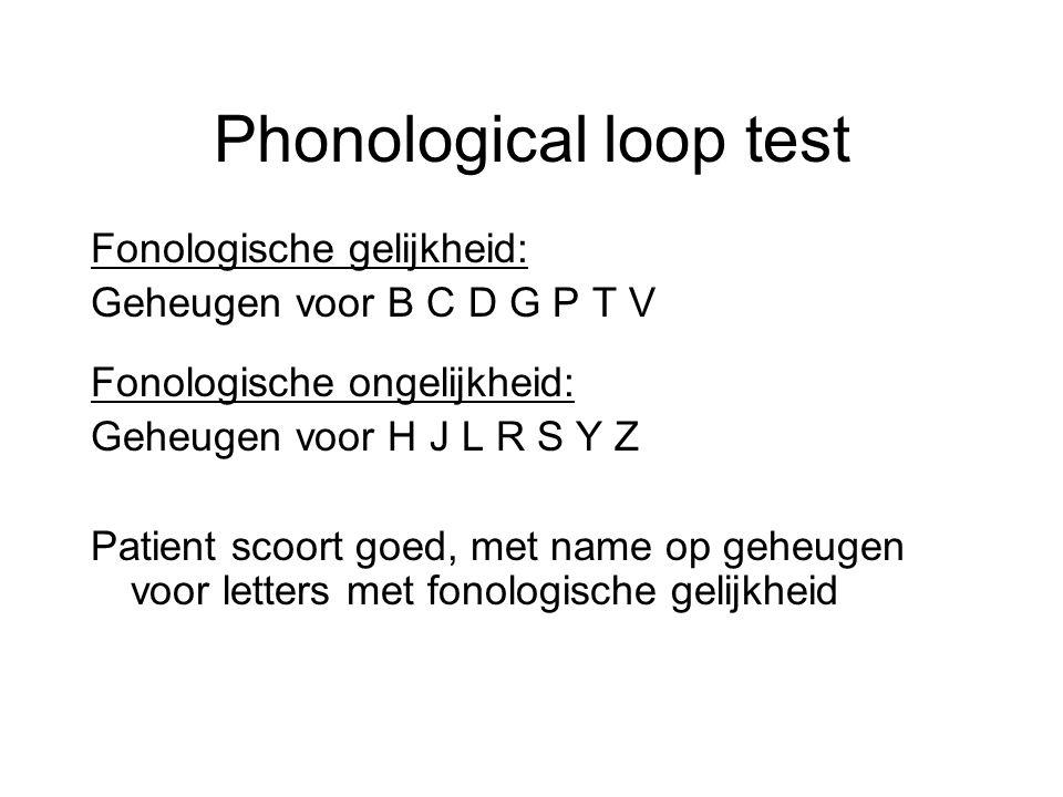 Phonological loop test Fonologische gelijkheid: Geheugen voor B C D G P T V Fonologische ongelijkheid: Geheugen voor H J L R S Y Z Patient scoort goed