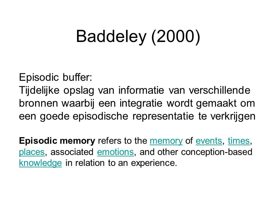 Episodic buffer: Tijdelijke opslag van informatie van verschillende bronnen waarbij een integratie wordt gemaakt om een goede episodische representati