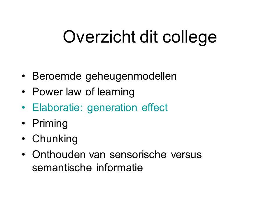 Overzicht dit college Beroemde geheugenmodellen Power law of learning Elaboratie: generation effect Priming Chunking Onthouden van sensorische versus