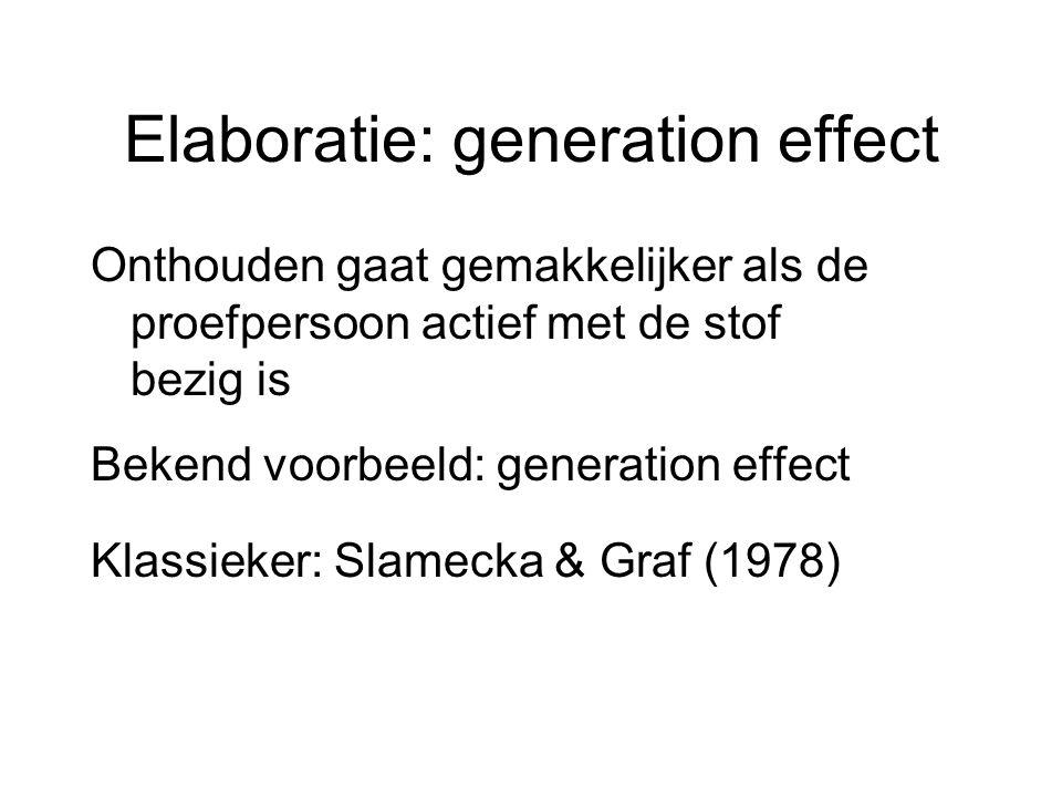 Elaboratie: generation effect Onthouden gaat gemakkelijker als de proefpersoon actief met de stof bezig is Bekend voorbeeld: generation effect Klassie