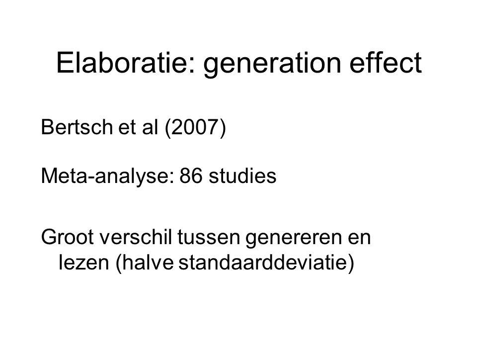 Elaboratie: generation effect Bertsch et al (2007) Meta-analyse: 86 studies Groot verschil tussen genereren en lezen (halve standaarddeviatie)
