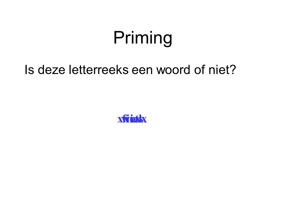 Priming Is deze letterreeks een woord of niet? wielxxxxxfiets