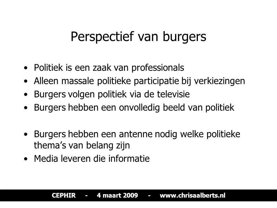 Perspectief van burgers Politiek is een zaak van professionals Alleen massale politieke participatie bij verkiezingen Burgers volgen politiek via de t