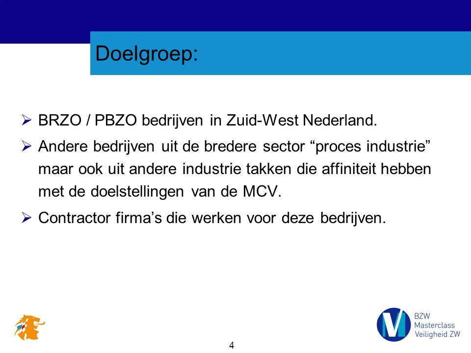 """4 Doelgroep:  BRZO / PBZO bedrijven in Zuid-West Nederland.  Andere bedrijven uit de bredere sector """"proces industrie"""" maar ook uit andere industrie"""