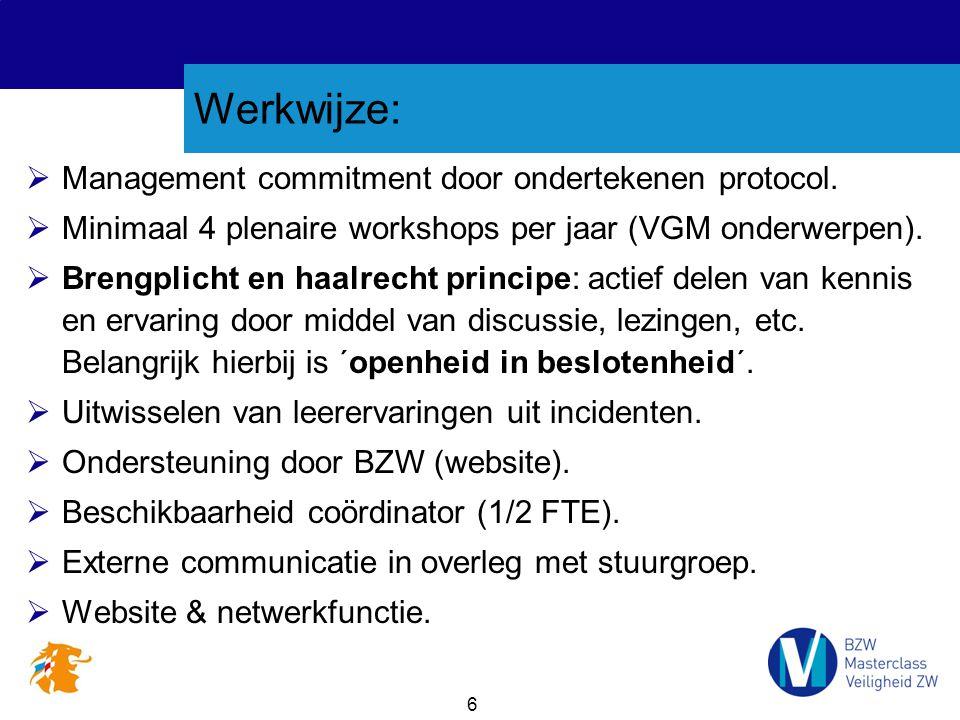 6 Werkwijze:  Management commitment door ondertekenen protocol.  Minimaal 4 plenaire workshops per jaar (VGM onderwerpen).  Brengplicht en haalrech