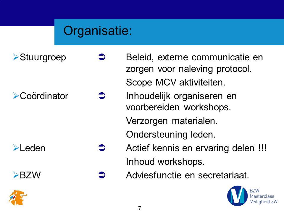 7 Organisatie:  Stuurgroep  Beleid, externe communicatie en zorgen voor naleving protocol. Scope MCV aktiviteiten.  Coördinator  Inhoudelijk organ